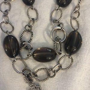 Jewelry - EUC SILVER & SMOKEY QUARTZ NECKLACE/BRACELET